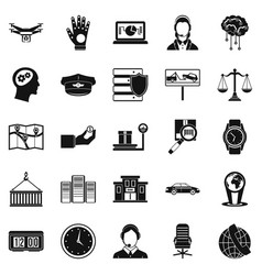 Full time work icons set simple style vector