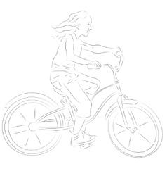 Girl on a bike sketch vector image