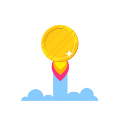 golden coin starting icon vector image vector image