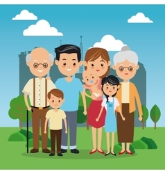 Grandparents parents and kids icon Family design vector image