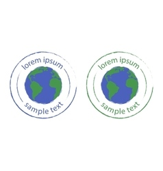 Grunge scratched planet earth logo Green blue vector image