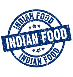 Indian food blue round grunge stamp vector