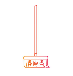 Kawaii broom with wooden stick in degraded yellow vector