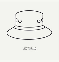 Line flat hunt and camping icon hat cap vector
