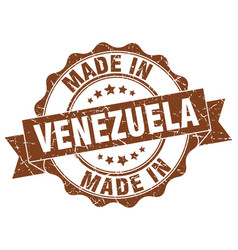 Made in venezuela round seal vector
