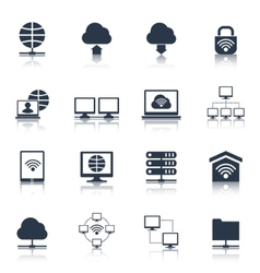 Network icons black vector