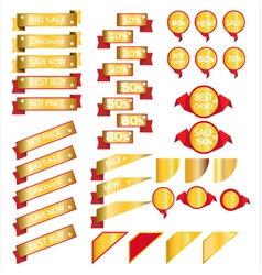 Sale gold ribbons isolated on white background vector image vector image