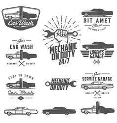 Set of car service labels emblems and logos vector image vector image