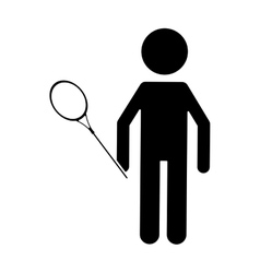 Silhouette badminton player racket uniform player vector