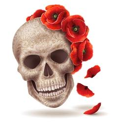 skull poppy art vector image