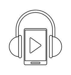 Smartphone player music headphones technology vector