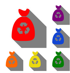 Trash bag icon set of red orange yellow green vector