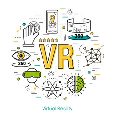 virtual reality - line art concept vector image