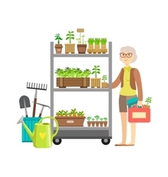 Woman Shopping For Garden Plants Shopping Mall vector image vector image