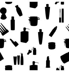 Wide range of cosmetic jars seamless pattern vector image