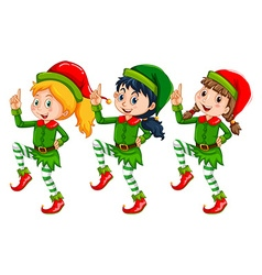 Christmas theme with kids dressed up in elf vector