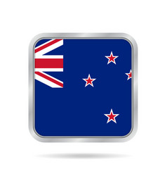 Flag of new zealand metallic gray square button vector