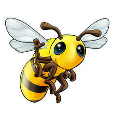 Happy waving cartoon bee vector