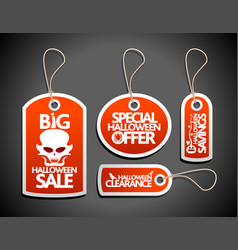 Halloween sale tags set red vector