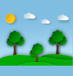 Sunny nature landscape with trees and meadow in vector
