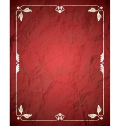 Aged crumpled red frame with vintage ornament vector