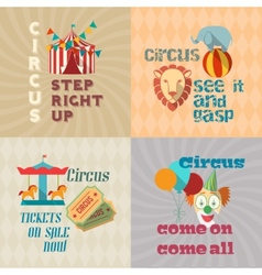 Circus vintage flat pictograms composition vector
