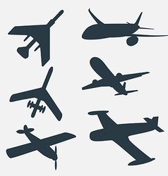 A group of planes in all different angles vector