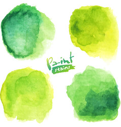 Green watercolor painted stains set vector