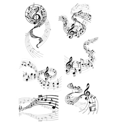 Musical waves with music notes vector