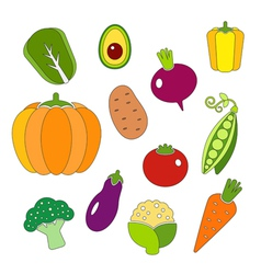 Healthy diet icons fresh organic vegetables vector