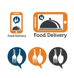 Set of mobile food delivery icons vector