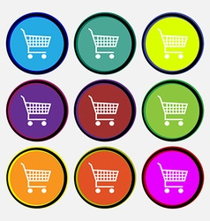 Shopping cart icon sign nine multi colored round vector