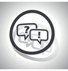 Question answer sign sticker curved vector