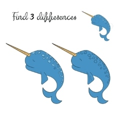 Find differences kids layout for game narwhal vector