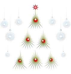 Set of abstract green christmas tree with red vector