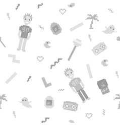 Pixel art 90s retro style grayscale seamless vector