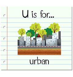 Flashcard letter u is for urban vector