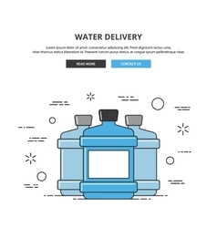 Water delivery web banner thin line vector