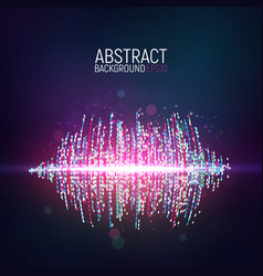 Abstract glowing sound waves on dark background vector