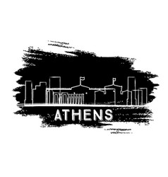 athens skyline silhouette hand drawn sketch vector image