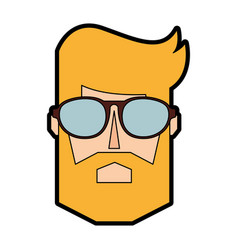 Blond man face cartoon vector