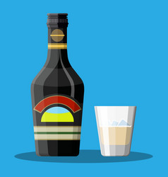 Bottle of chocolate coffee cream liquor and glass vector