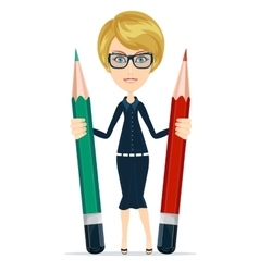 Business woman holding a pencil in their hands vector
