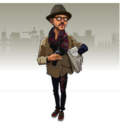 Cartoon man in a hipster clothes with a bottle vector