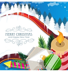 Christmas decorations on winter forest vector