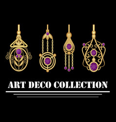 collection of elegant gold earrings with purple vector image vector image