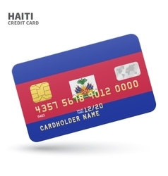 Credit card with haiti flag background for bank vector