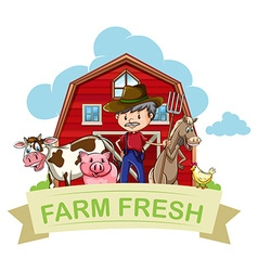 Farmer and farm animals with banner vector image