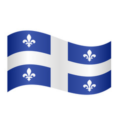 Flag of quebec waving on white background vector