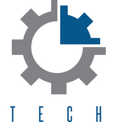 gear with arrow tech concept design template vector image